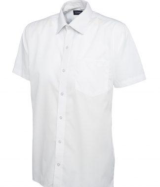 Uneek Mens Poplin Half Sleeve Shirt - White