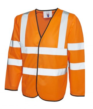 Uneek Long Sleeve Safety Waist Coat - Orange