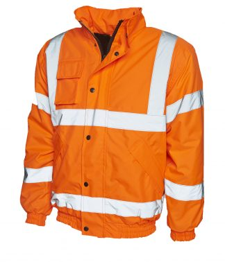 Uneek High Visibility Bomber Jacket - Orange