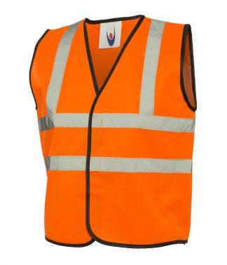 Uneek Childrens Hi-Viz Waist Coat - Orange