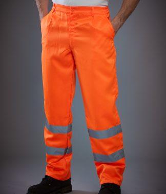YK300 - Yoko Hi-Vis Poly/Cotton Work Trousers - Orange
