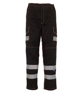 YK301 - Yoko Hi-Vis Cargo Trousers with Knee Pad Pockets - Black
