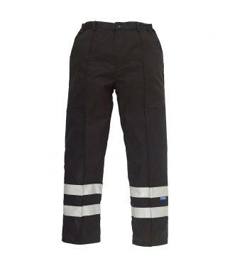 YK302 - Yoko Reflective Poly/Cotton Ballistic Trousers - Black