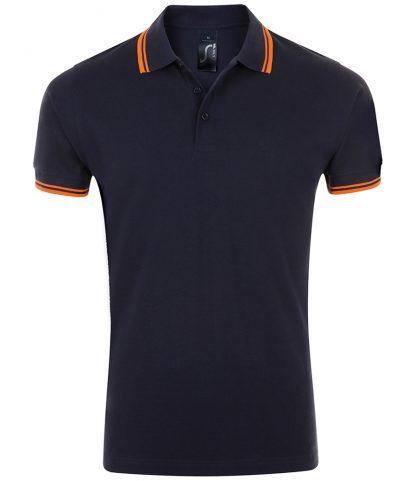 SOLS Pasadena Polo Shirt Fr. navy/neon ora 3XL (10577 FN/NO 3XL)