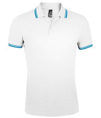 SOLS Pasadena Polo Shirt White/aqua Blue 3XL (10577 WH/AQ 3XL)
